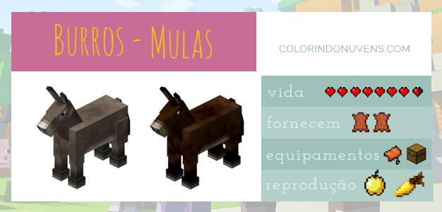 Criação de Animais - burros e mulas Minecraft