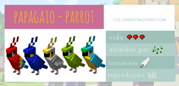 Tudo sobre Minecraft Animais Papagaios Colorindo Nuvens