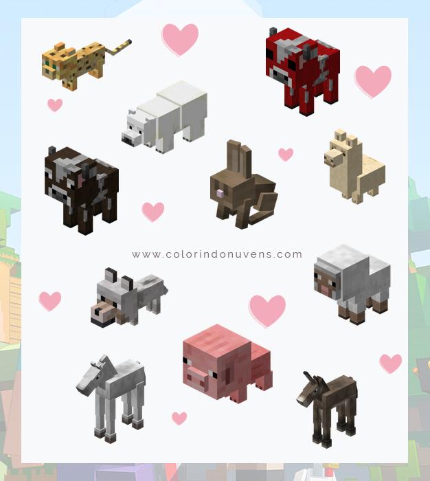 Todos os filhotes animais minecraft