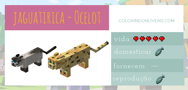 Gato Minecraft Animais Colorindo Nuvens