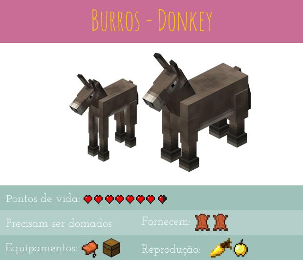 Minecraft animais - burros