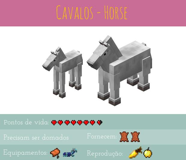 Minecraft animais - cavalos