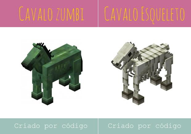 Minecraft Animais Cavalo Zumbi e Cavalo Esqueleto