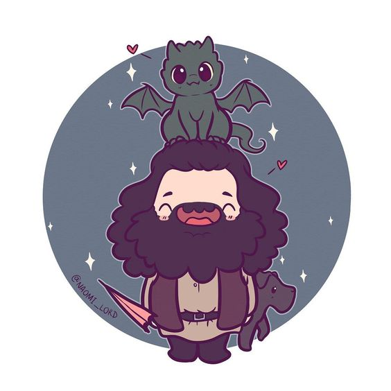 Personagens Harry Potter versão kawaii Hagrid