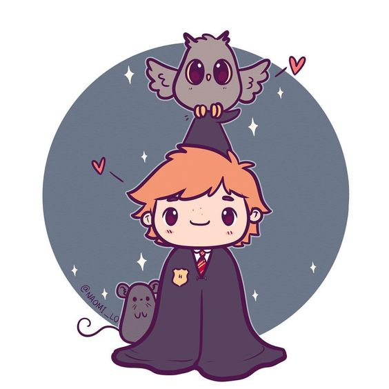 Personagens Harry Potter versão kawaii Ron