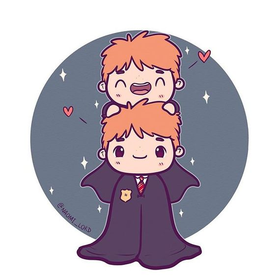 Personagens Harry Potter versão kawaii Fred e jorge weasley