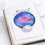 Bujo: Bullet Journal Março Galaxia
