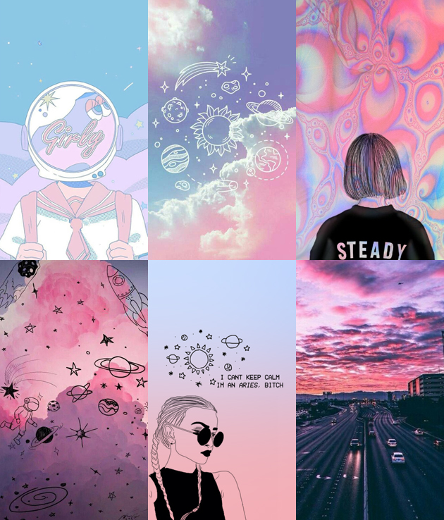 Wallpaper de celular tumblr pink and blue