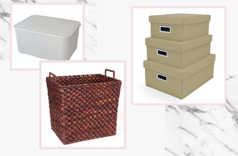 caixas organizadoras e cestos