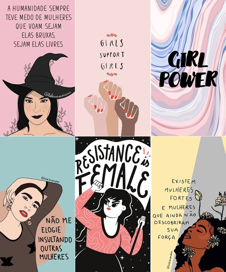 Wallpaper feminista girlpower Colorindo Nuvens