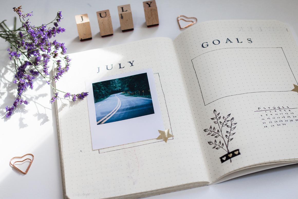 Bullet Journal de Julho Organização