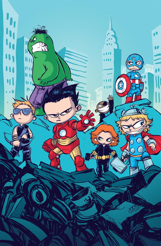 Arte Super Herois Marvel Nos Tracos De Skottie Young Colorindo