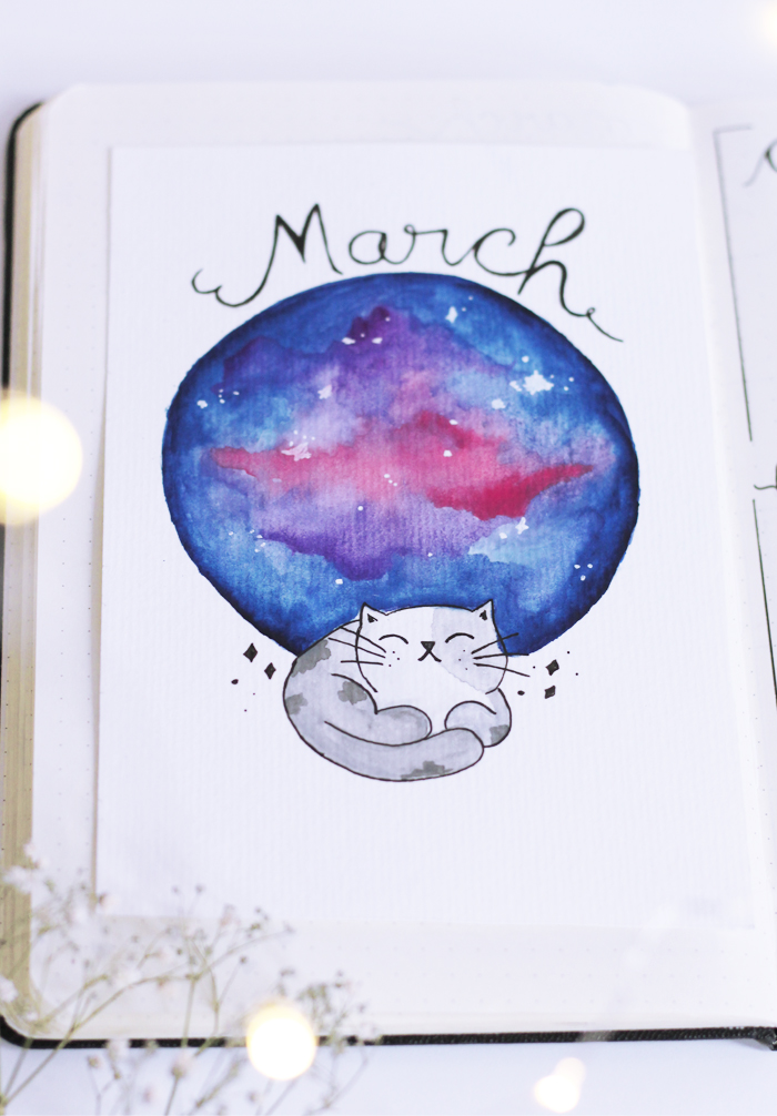Bujo Meu Bullet Journal De Marco Com Tema Galaxia Colorindo Nuvens
